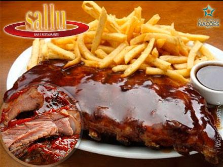 Costelinha ao Molho Barbecue + Acompanhamentos no Sallu Restaurante, por apenas 29,90. Serve 2 pessoas!