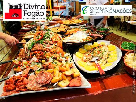 Boulevard Shopping! Jantar Individual de Comida Mineira à Vontade no Divino Fogão, por apenas 19,99.