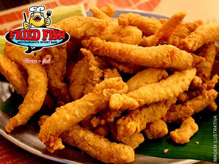 Porção Média de Tilápia + Acompanhamentos no Fried Fish, de 40,00 por apenas 24,90. Serve 2 pessoas!