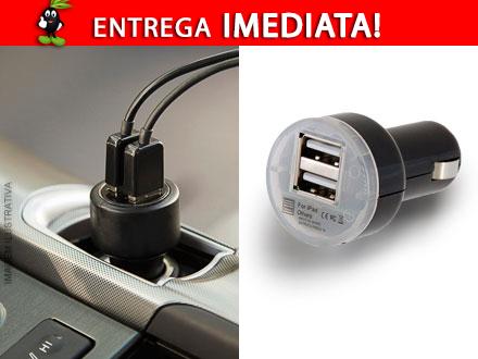 Carregador Veicular com Duplo USB por apenas 39,90! Entrega Imediata com Frete Incluso para todo o Brasil!