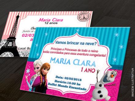 50 Convites Personalizados (10x7cm), por apenas 20,90. Frete Grátis para todo o Brasil!