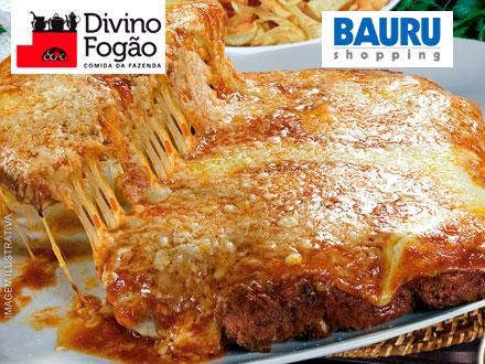 Seu fim de semana com mais sabor no Bauru Shopping! Parmegiana para 2 Pessoas no Divino Fogão, por 32,90.