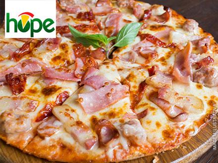 Do forno para sua mesa! Pizza Grande (12 Opções a sua escolha) da Hope Pizzaria, por apenas 17,00.