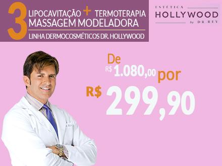 Gordura Localizada? 3 Sessões de Lipocavitação + Termoterapia + Massagem Modeladora na Estética Hollywood, por apenas 299,90.