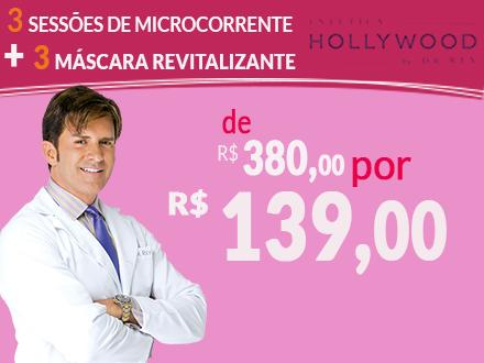 Seu Rosto lindo! 3 Sessões de Microcorrente + Máscara Revitalizante na Estética Hollywood by Dr. Rey, por apenas 139,00.