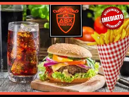 COMBO ABX: Hamburguer Artesanal de 150g + 5 Ingredientes + Fritas com Cheddar e Bacon + Coca 400ml: 19,90. Atendimento Imediato