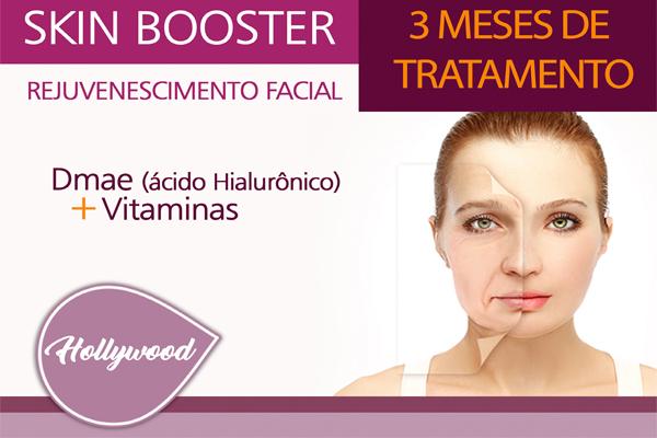3 Meses de Tratamento com Skin Booster (Ácido Hialurônico) Dmae + Vitaminas na Estética Hollywood, por apenas R$ 579,90.