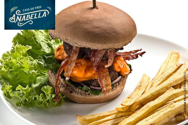 Poderoso Chefão: Lanche com 2 Hambúrgueres de Fraldinha com Costela (150g) na Anabella Casa de Pães, de 29,00 por 16,90.