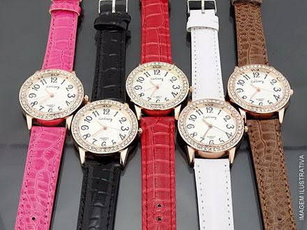 Relógio Feminino com Pulseira de Couro (5 Opções de Cor), por apenas R$ 35,90. Frete Grátis para todo o Brasil!