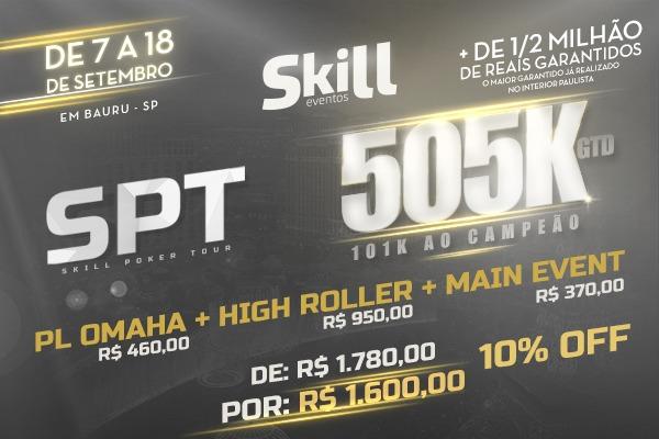 Pacote SPT 505K: 10% OFF em Buy-in dos Principais Torneios (PL Omaha + HighRoller + M.E) com R$180,00 OFF