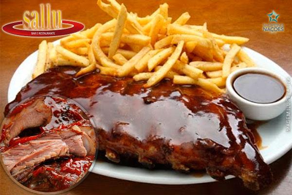 Costelinha ao Molho Barbecue + Acompanhamentos no Sallu Restaurante, por apenas 35,90. Serve 2 pessoas!